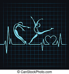 szív, csinál, jóga, leány, szívdobbanás