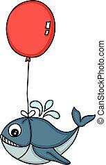 szív, csinos, balloon, repülés, alakú, bálna