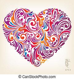 szív, díszítő, színezett, motívum