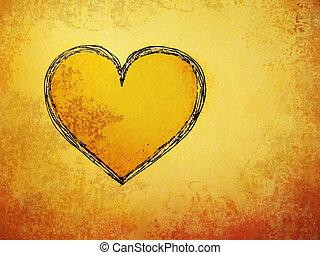 szív, dolgozat, öreg, struktúra, szüret