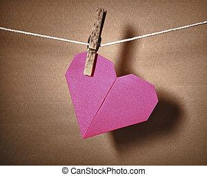 szív, dolgozat, rope., függő
