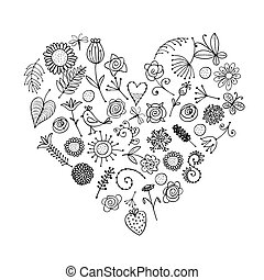 szív, -e, floral tervezés, díszítés, alakít