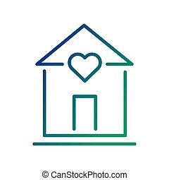 szív, egyenes, épület, mód, ikon