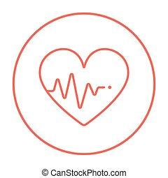 szív, egyenes, icon., kardiogram
