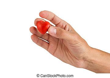 szív, elkészített, backgrou, kéz, gyurma, white piros