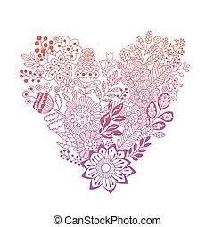 szív, elkészített, csinos, szüret, zöld, alakít, menstruáció