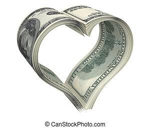 szív, elkészített, dollár, hajópapírok, kevés