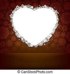 szív, elkészített, snowflakes., eps, 8, fehér