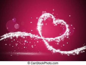 szív, elrendezett, fényes, állati tüdő
