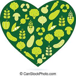 szív, ), (, elszigetelt, élelmiszer, zöld white, egészséges