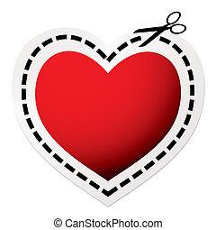 szív, elvág, piros, ki