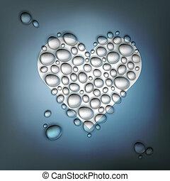 szív, eps10, alakú, elvont, valentines, víz, drops., háttér, vektor, nap