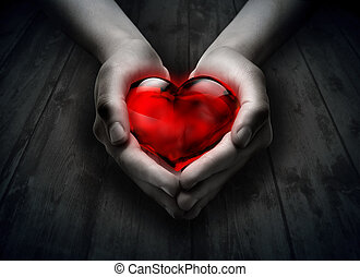 szív, erdő, pohár, kéz