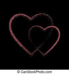 szív, fénylik, fekete, rózsaszínű, háttér.