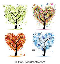 szív, fa, -e, eredet, fűszerezni, winter., -, ősz, nyár, művészet, négy, tervezés, alakít