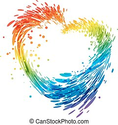 szív, fehér, loccsanás, többszínű