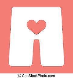 szív, fehérnemű, ikon