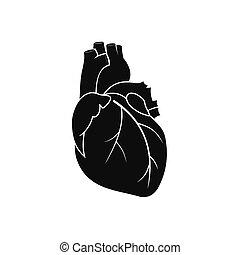 szív, fekete, emberi, ikon