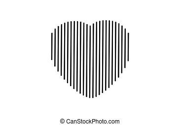 szív, fekete, jel, egyenes, vagy, ikon