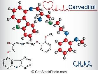 szív, feldolgozó, béta, kémiai, congestive, -, molekula, szerkezeti, kábítószer, balsiker, képlet, használt, carvedilol, blocker, model.