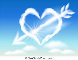 szív, felhő, nyíl, stabs