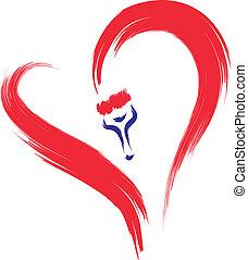 szív, festmény, piros