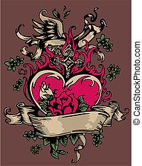 szív, flores, kereszt, szüret