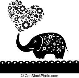 szív, flowers., elefánt, kártya, csinos