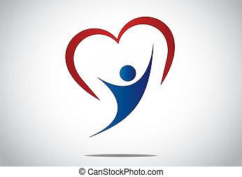 szív, fogalom, művészet, tervezés, leány, boldogság, heart., &, -, fiatal, mögött, piros, vidám woman, színes, öröm, jelkép, ábra, ugrás, kézbesít, mindkét, alakú, tánc, feláll, személy, vagy, ifjú