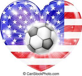 szív, futball, american lobogó