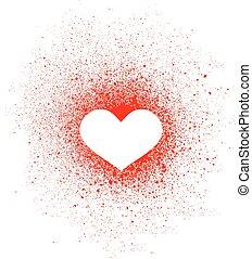 szív, gally, falfirkálás, tervezés elem