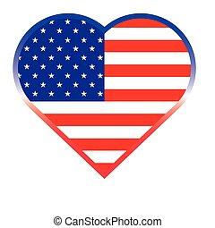 szív, gombol, amerikai, alakít