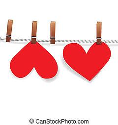 szív, gombostű, hozzácsatolt, ruhaszárító kötél, dolgozat, piros