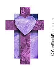 szív, grafikus, keresztény, kereszt, szeret