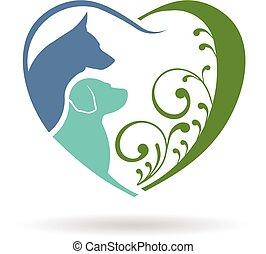 szív, grafikus, szeret, kutya, vektor, tervezés, logo.