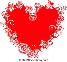 szív, grunge, kedves, vektor, keret