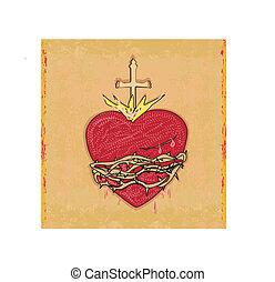 szív, grunge, szent, háttér, jézus