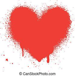 szív, grunge, vektor