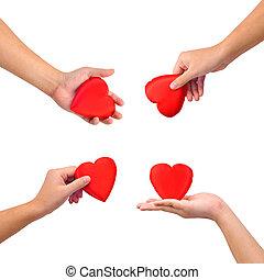 szív, gyűjtés, kézbesít