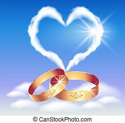szív, gyűrű, kártya, esküvő