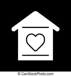 szív, háttér., egyszerű, épület, szilárd, vektor, fekete, icon.