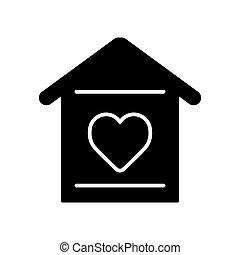 szív, háttér., egyszerű, épület, szilárd, vektor, icon., fehér