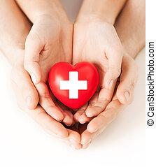 szív, hím, piros, női kezezés