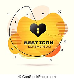 szív, heart., kulcslyuk, szeret, banner., szín, jelkép, elszigetelt, ábra, cseppfolyós, háttér., vektor, fekete, bezárt, fehér, cégtábla., ikon