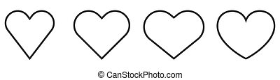 szív, hearts., állhatatos, vektor, icons., áttekintés