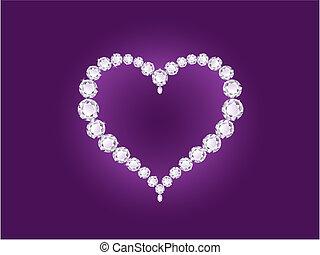 szív, ibolya, gyémánt, háttér, vektor