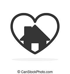 szív, icon., épület, alakít