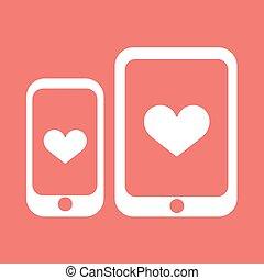 szív, icon., vektor, smartphone