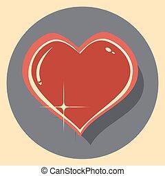 szív, ikon, árnyék, karika