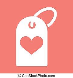 szív, ikon, bevásárlás, ábra, címke